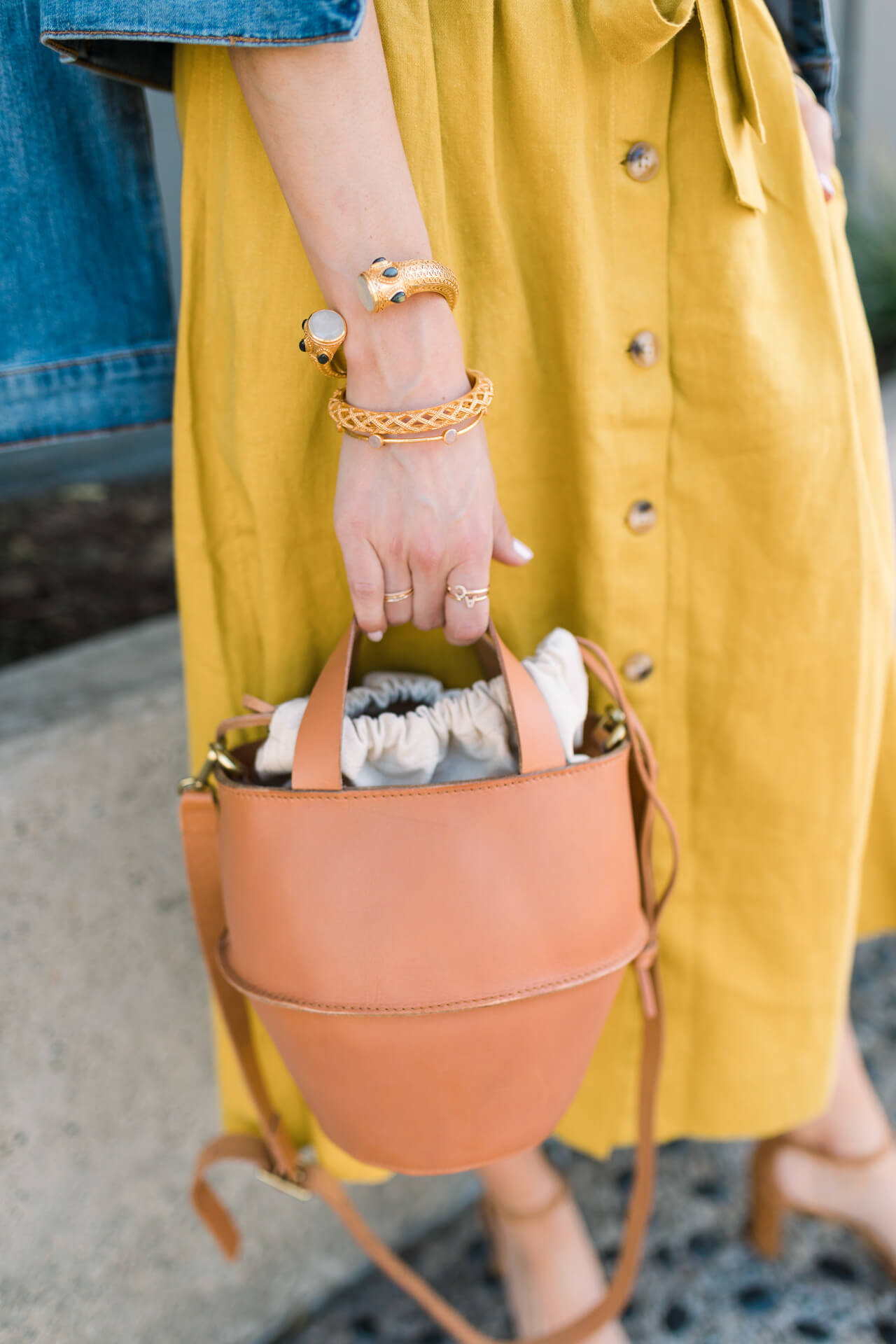 madewell bucket bag with mustard midi skirt - M Loves M @marmar