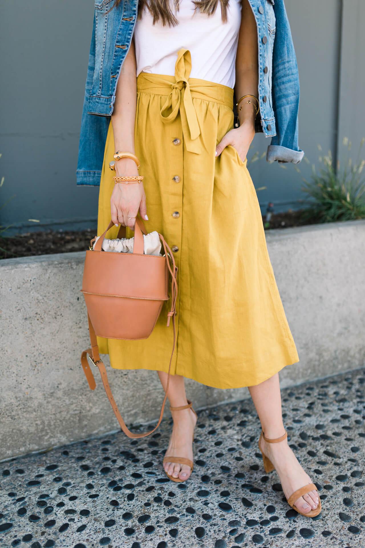 mustard midi skirt from madewell - M Loves M @marmar