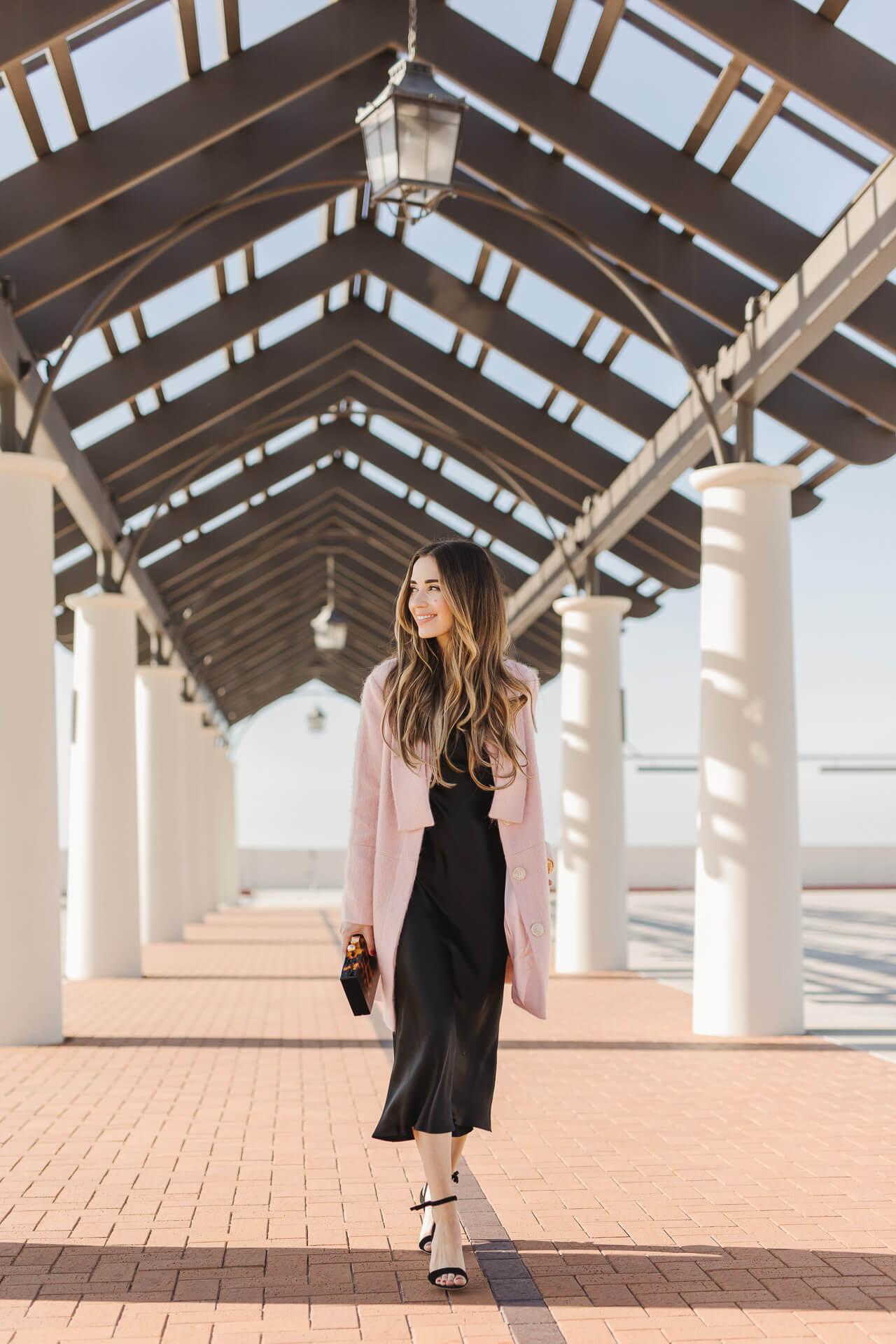 A chic black slip dress and millennial pink coat! ! - M Loves M @marmar