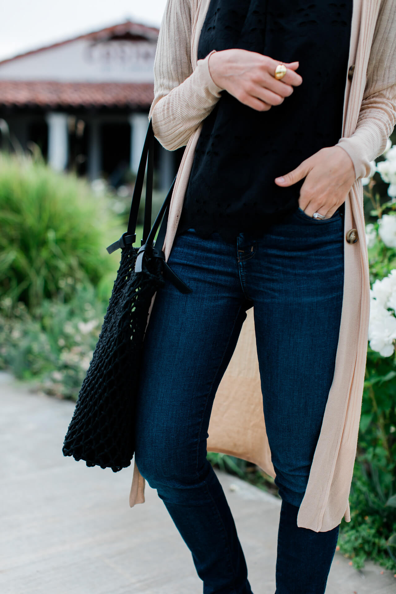 A pretty black lace top, nude long cardigan, slide sandals, and black netted bag for fall! - M Loves M @marmar
