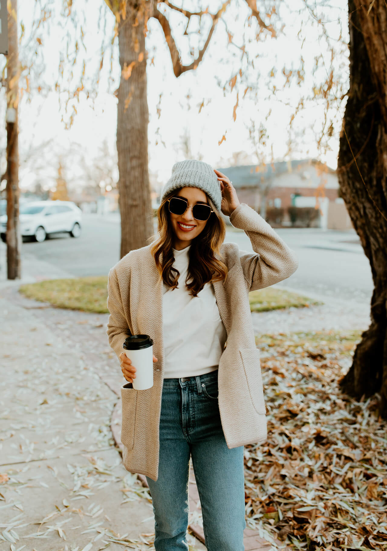 gray beanie with madewell jacket and jeans - M Loves M @marmar