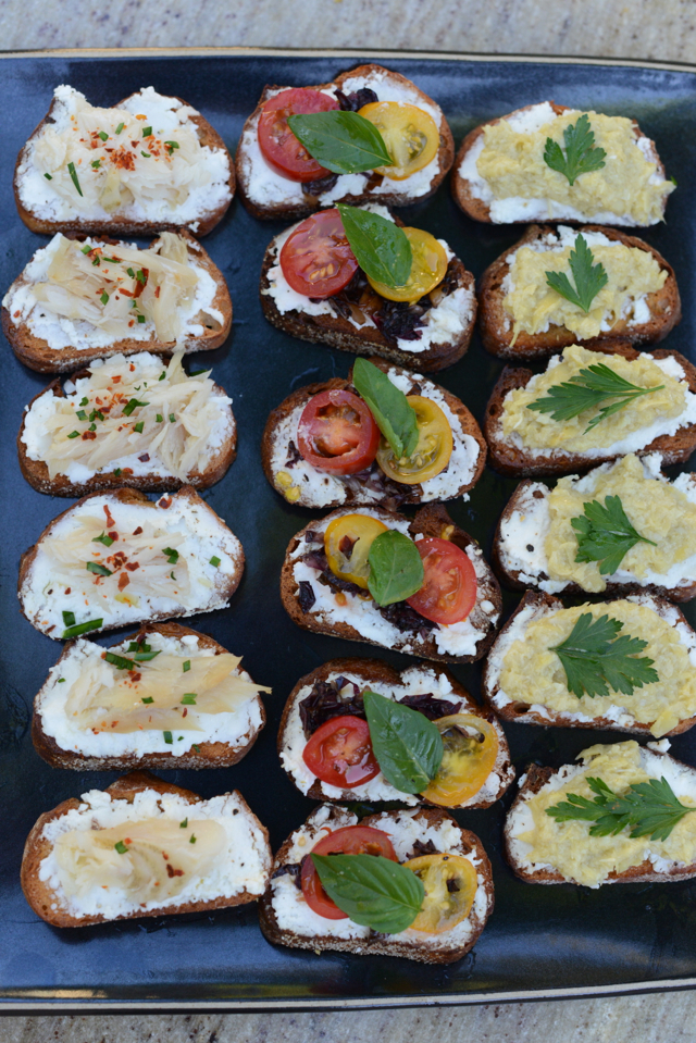 crostini three ways, easy summer appetizer, M Loves M