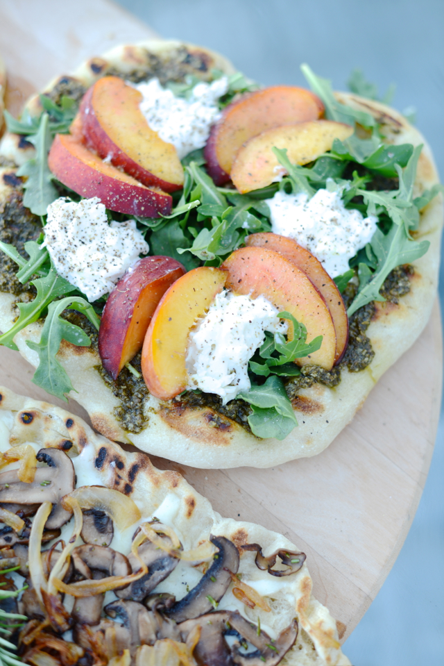 pizza, peach and burrata pizza recipe with arugula M Loves M @marmar