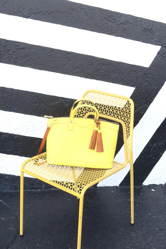 yellow tassel satchel M Loves M