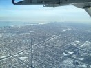 Our little plane landing in Chicago.