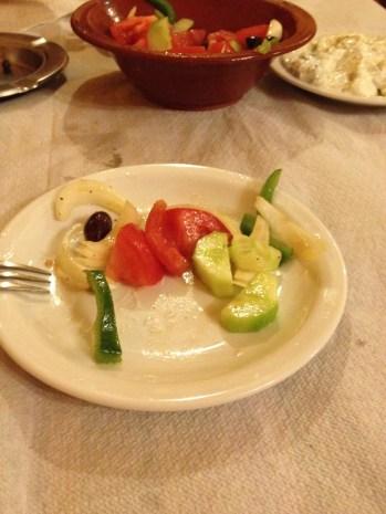 veggies and tzatziki sauce.