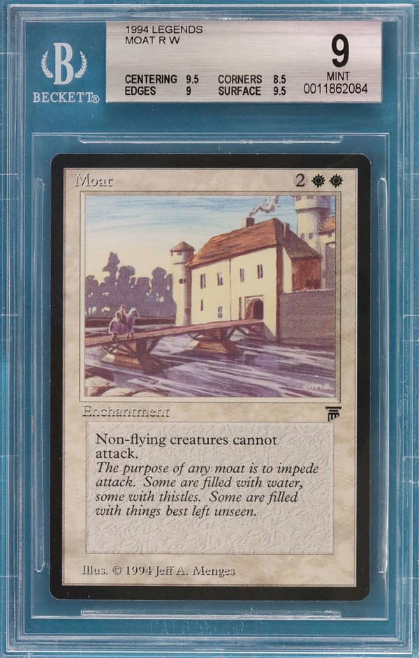 A Moat from the Legends set for Magic: The Gathering, graded by Beckett Grading Services at a 9 out of 10, a Mint condition graded card.