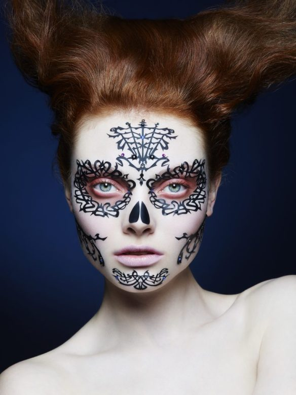 Face Lace - Day of the Dead - Rose crystallised Model Shot - £39.95 - www.face-lace.com