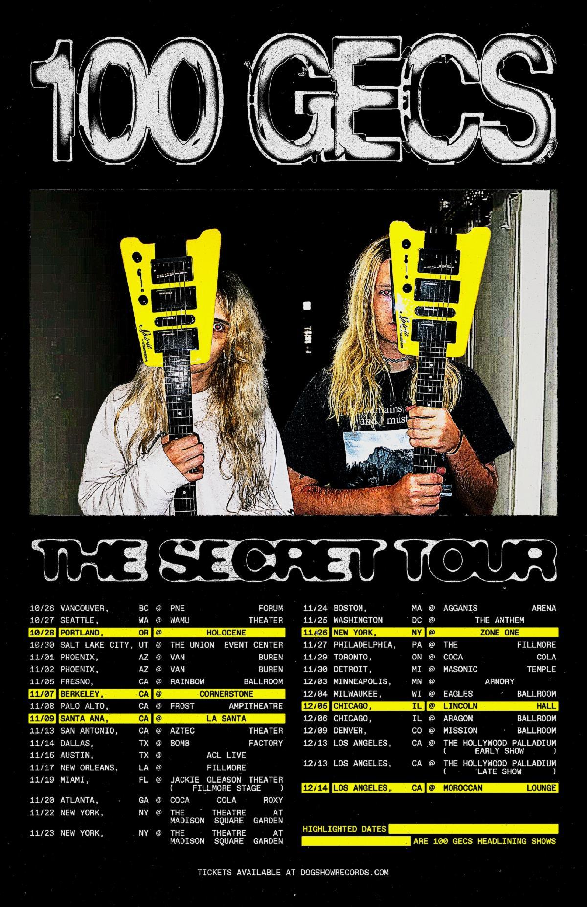 100 gecs NA tour poster