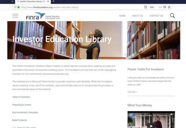 Screenshot of the FINRA Foundation's investor education library
