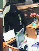 A photo of the robbery suspect, taken from a bank security camera.