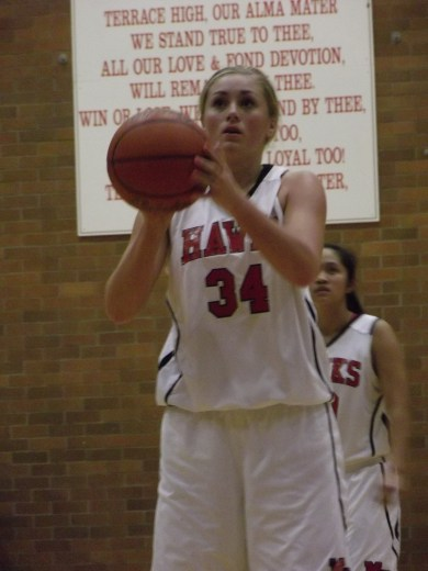 Maddy Kristjanson at the foul line.