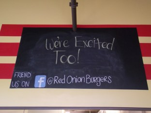Red Onion Burgers sign