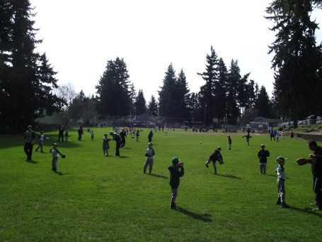 What does the first sunny weekend of spring mean in Mountlake Terrace? MYTAA baseball! Forest Crest Playfield was buzzing with Little Leaguers on Saturday ready to show their stuff on the diamond. (Photo by Doug Petrowski)