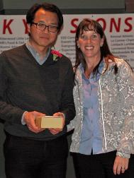 District Athletic Director Julie Stroncek with Dr. Jim Hsu.