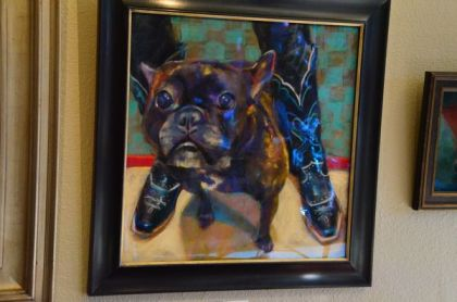 The painting of Nanette, the French Bulldog.