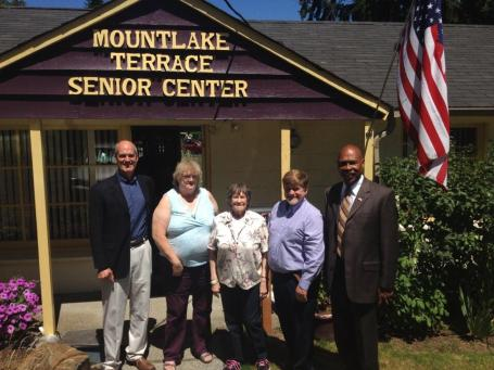 Congressman Rick Larsen and Snohomish County Executive John Lovick visited with MLT Senior Center Executive Director Mike Cooper and volunteers Wednesday.