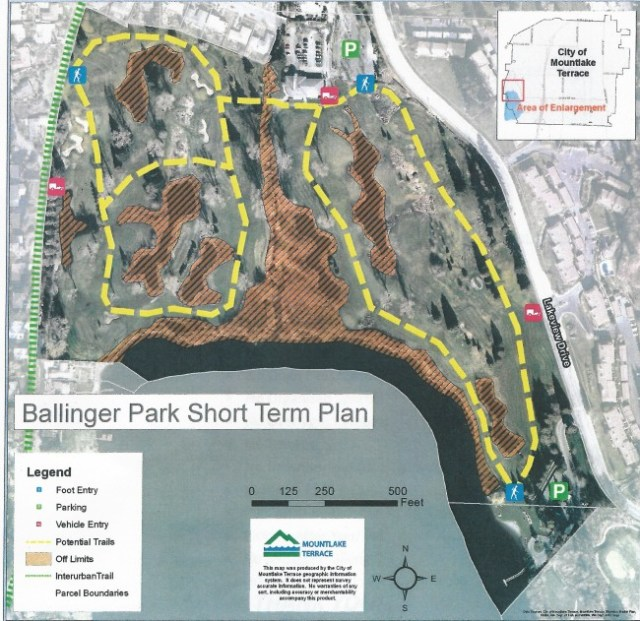 The latest short-term plans for the new Ballinger Park shows three open pedestrian entrances, three locked emergency vehicle entrances, off-limit areas and approximate locations of mowed trails