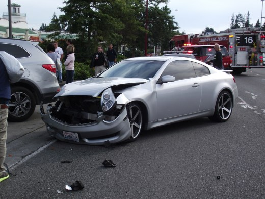 The aftermath of a three-car accident Friday afternoon, with injured taken to Swedish/Edmonds.