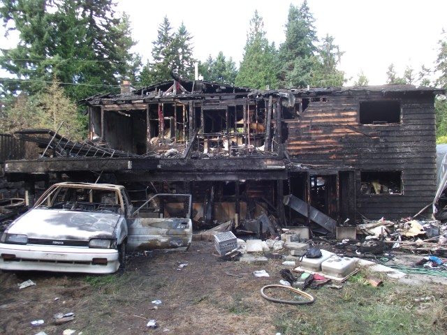 The aftermath of the fire-damaged home, taken Wednesday morning.
