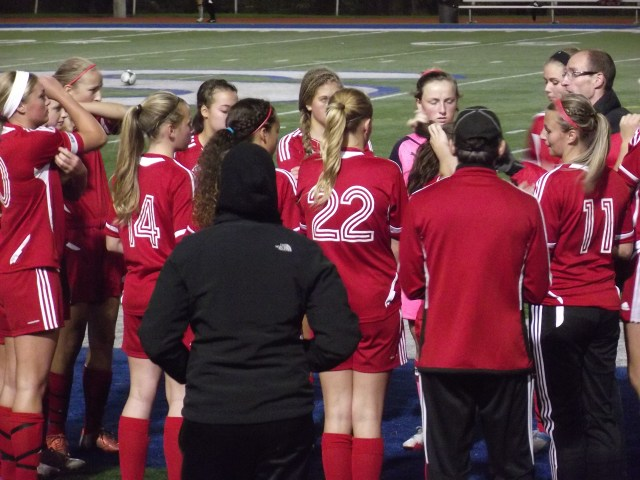The Terrace girls soccer team just prior to their game with Shorewood Tuesday.