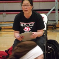 Coach Marietta Snyder on the sidelines, and addressing her team during a timeout.
