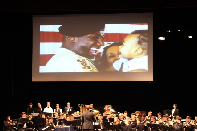 he band plays in front of the big screen in the newly remodeled MTHS theater.