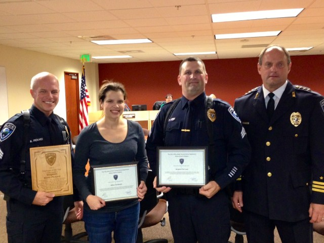 From left, Sergeant Kevin Pickard, Officer Kat Brecht, Sergeant Pat Lowe and Chief Greg Wilson.