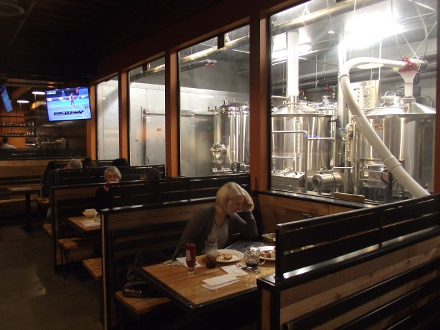 Pub diners can view the brewery operations through large interior windows.