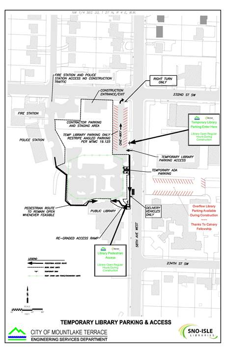 This diagram shows how the library parking lot will be impacted as well as temporary parking and pedestrian access during construction.