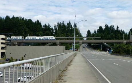 A conceptual drawing of what light rail will look like near the 236th Street I-5 overpass and the MLT Transit Center.
