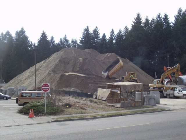 a small portion of the temporary parking lot (lower left corner) to be closed Feb. 17-2