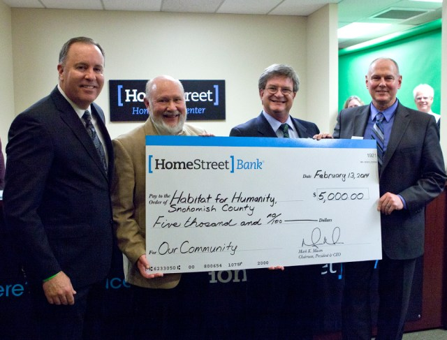 Habitat for Humanity, Snohomish County, Guinn Rogers, Director, Mark Mason President and CEO of HomeStreet Bank, Dexter Wellington, VP and Mortgage Manager of HSB, MLT.