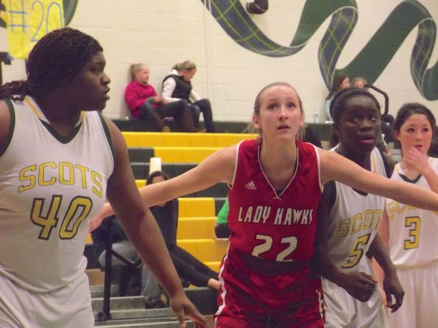 The Hawks' Samantha Romanowski was hounded by Scots all night.