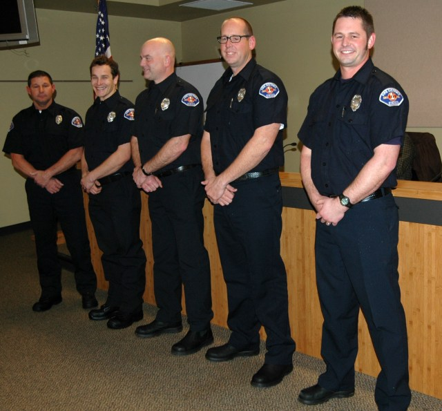 The five firefighters who recently completed orientation and joined the ranks of Snohomish County Fire District 1 (from left): Paul Brough, Garrett Owens, Les Fredrickson, Kevin Crye and Kyle Tate.