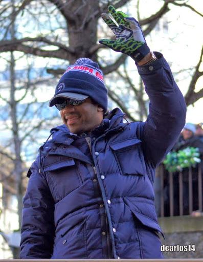 Russell Wilson, Seahawks Parade, Seattle, 2-5-14.