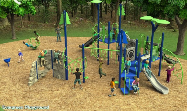 A conceptual drawing of the chosen play equipment for the playground at Evergreen Playfield.