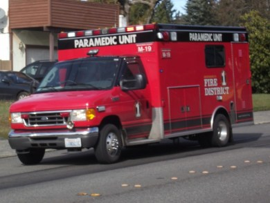 A Fire District 1 crew on a medical call in the 24200 block of 56th Avenue West in Mountlake Terrace on Feb. 25.