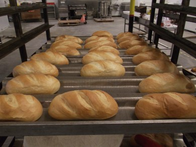 Finished bread loaves.