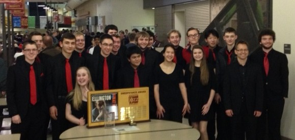 MTHS Jazz 1 with Newport Jazz Festival first-place trophy.