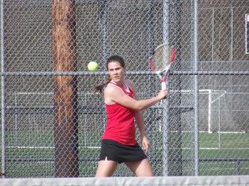 No. 1 singles player Nikki Bouche won her match,