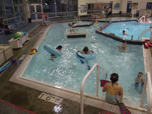 The Lazy River is a three-four-deep section in the southeast corner of the Recreation Pavilion pool