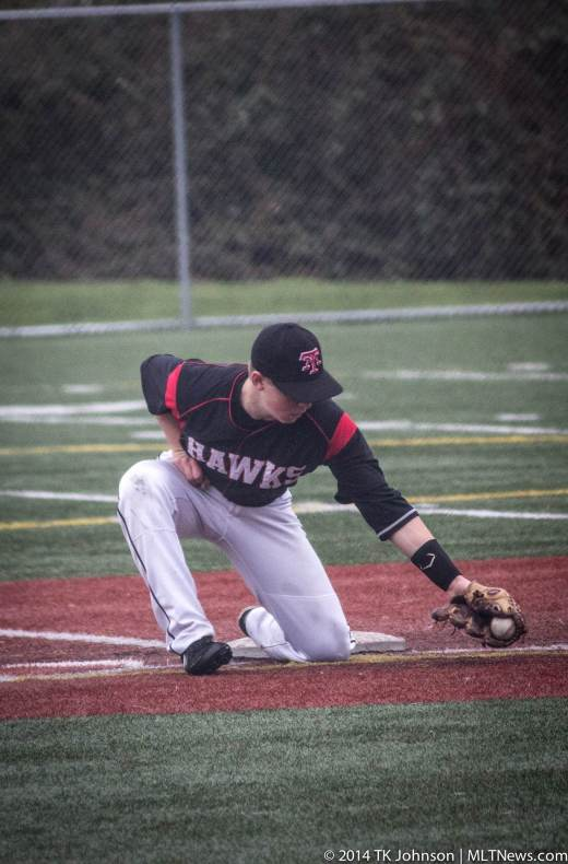 2nd baseman Jaden Yackley picks a ball out of the dirt Friday. (Photos by TK Johnson)