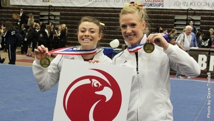 Tindall (right) and teammate Maria Hundley showing off some of their gold earned at the national championships.