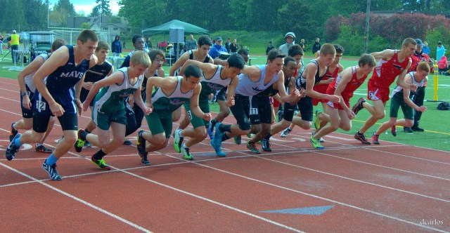 The start of the boys 1600 meters.