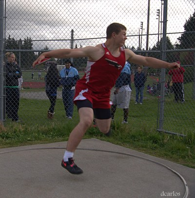 Brett Potter finished second in the discus.