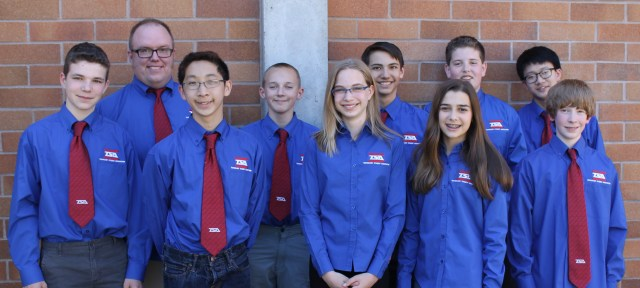 The BTMS TSA team: back row from left to right: Faculty Advisor Todd Johnston, Ryan Coffman, Daniel Orsborn, Brandon Elias, Anthony Tran; front row from left to right: Jake Peters: Justin Ong, Marika Jamtaas, Olivia Olson, Reece Newhouse