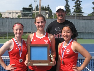The Mountlake Terrace High School girls tennis team was named the 3A District 1 champions on Wednesday as the doubles team of Allison Lorraine (far left) and Tina Liu (far right) won the doubles title while Nicki Bouche (center) was runner-up in the singles competition. All three Hawks move on to the WIAA 3A Girls State Tennis Championships May 30 and 31 in Kennewick. Terrace is coached by Alberto Ramirez, back right. (Photo courtesy Rich and Gini Bouche)
