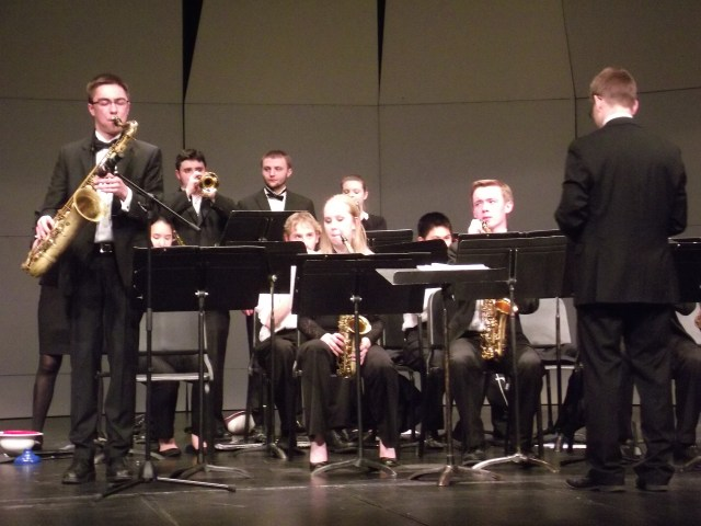 MTHS Jazz 1 with director Darin Faul (right).
