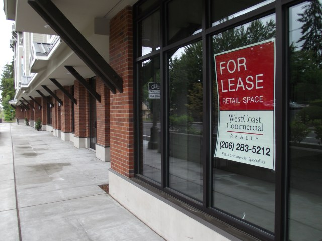 Some of the storefronts for the more than 8,000 square feet of commercial space still available for lease at Arbor Village in Mountlake Terrace.